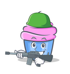 Army cupcake character cartoon style vector