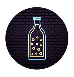beer bottle bubles drink neon design vector image