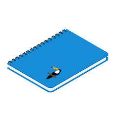 Blue spiral notebook with exotic bird toucan vector
