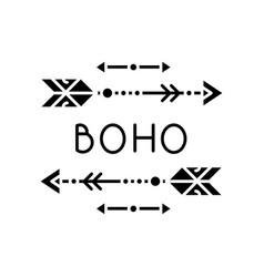 Boho aesthetic arrows black glyph icon bohemian vector