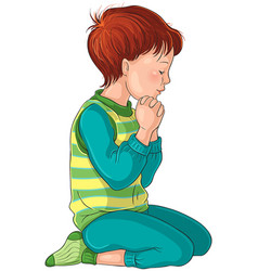 boy kneeling down in prayer with her hands folded vector image