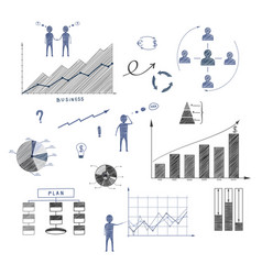business doodle elements of infographics vector image