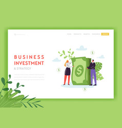 Business investment and strategy landing page vector