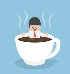 Businessman relaxing in a cup of coffee vector