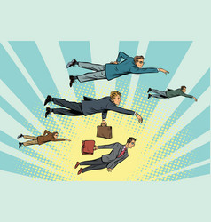 Businessmen are floating in the air vector