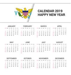 Calendar 2019 virgin islands us flag background vector