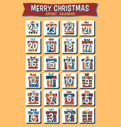 cartoon christmas advent calendar vector image