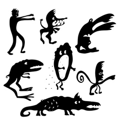 Cartoon monsters silhouettes vector