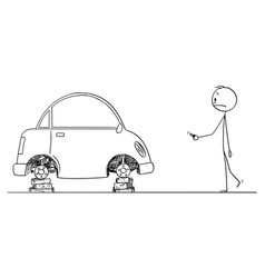 cartoon shocked man who found his car without vector image
