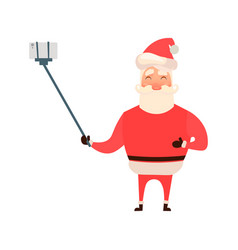cartoon style santa claus making selfie christmas vector image