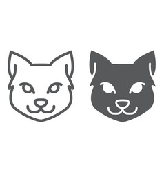 cat line and glyph icon halloween and pet vector image
