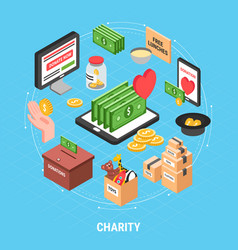 charity isometric design concept vector image