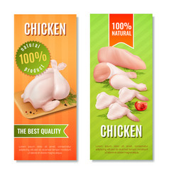 chicken meat vertical banners vector image