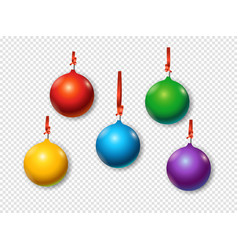 christmas baubles set objects isolated on vector image