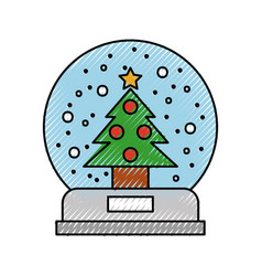 christmas snow globe with a fir tree inside in vector image