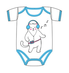 clothes of dancing cat with old cassette player vector image