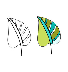 Colored leaf black and white for vector