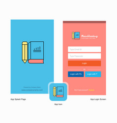 company book and pencil splash screen and login vector image