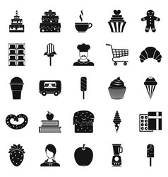 Confectioner icons set simple style vector