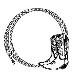 Cowboy rope frame with cowboy boots vector
