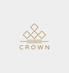Crown elegant line logo template icon element vector