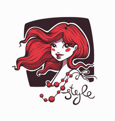 cute cartoon girl with red hair and style vector image