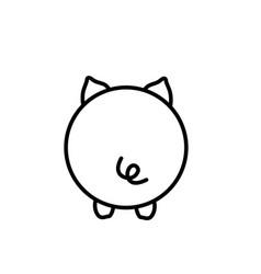 Cute piglet butt vector