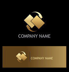 data transfer arrow gold logo vector image