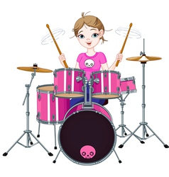 Drummer girl vector