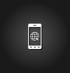 earth on smartphone screen icon flat vector image