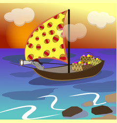 Easter bunny swims on a sailboat vector