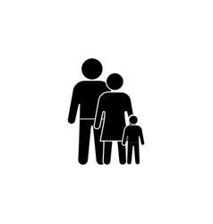 family icon black on white vector image