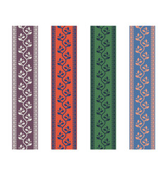 Fancy strap border leaves pattern design tapes vector