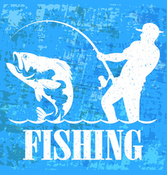 Fisherman with a fishing rod banner vector