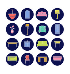 furniture icon collection for print or web vector image