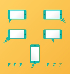 Gadget smartphone empty speech bubbles yellow vector image
