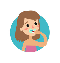 girl brushing her teeth cheerful woman taking vector image