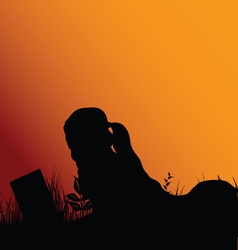 girl silhouette reading in nature vector image