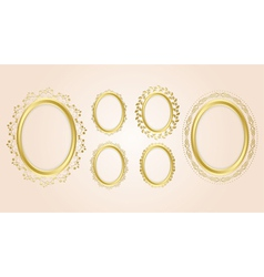 gold oval decorative frames - set vector image