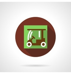 Golf cart brown round icon vector