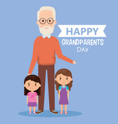 grandparents day card with grandpa and vector image