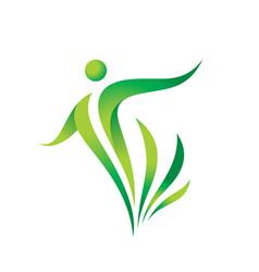 Green nature logo template vector