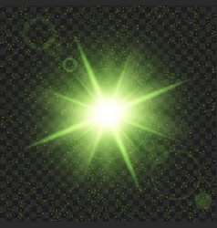 Green shine stars with glitters effect graphic vector
