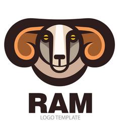 Head of horned ram vector