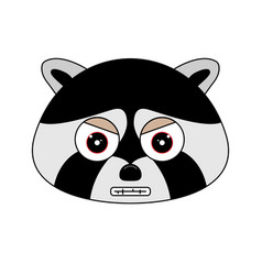 head of racoon in cartoon style vector image