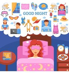 Healthy night sleep tips flat poster vector