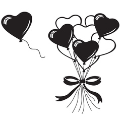 Heart balloons bouquet vector