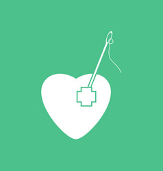 Icon heart with a needle vector