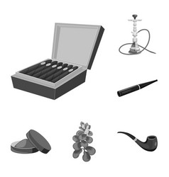 Isolated object of health and nicotine sign set vector