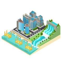 Isometric eco city template vector